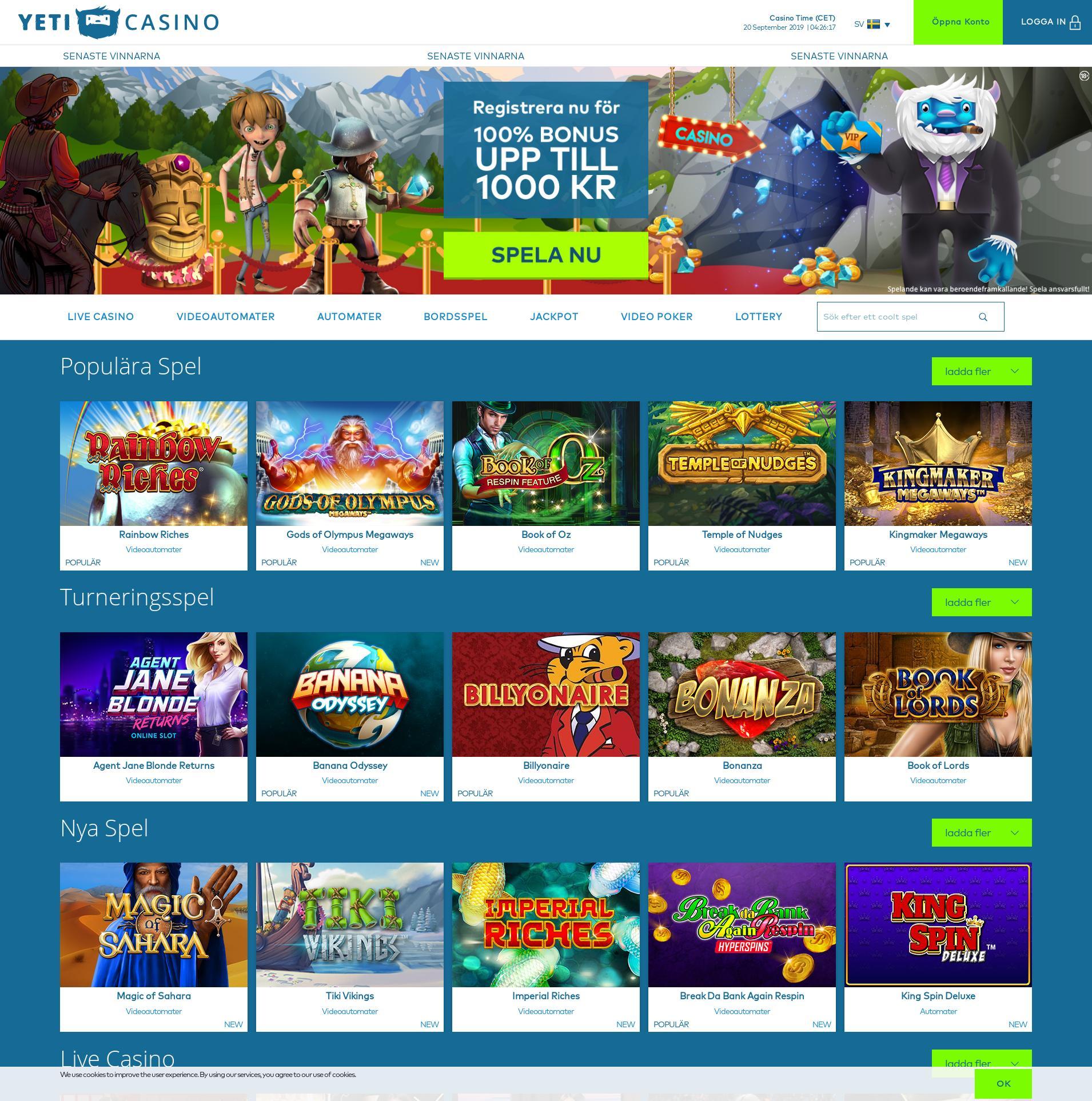 Casino screen Lobby 2019-09-20 for Sweden