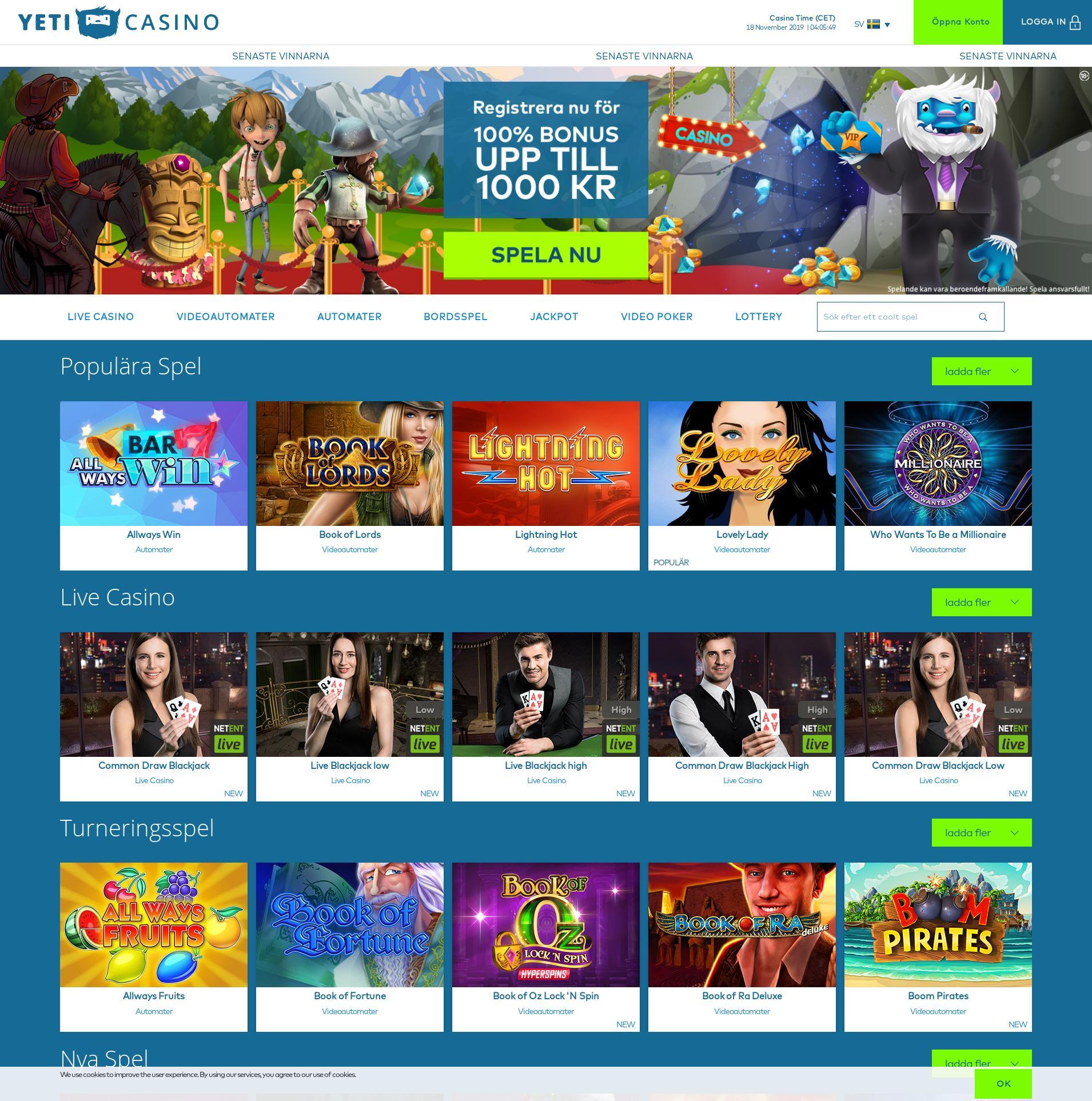 Casino screen Lobby 2019-11-18 for Sweden