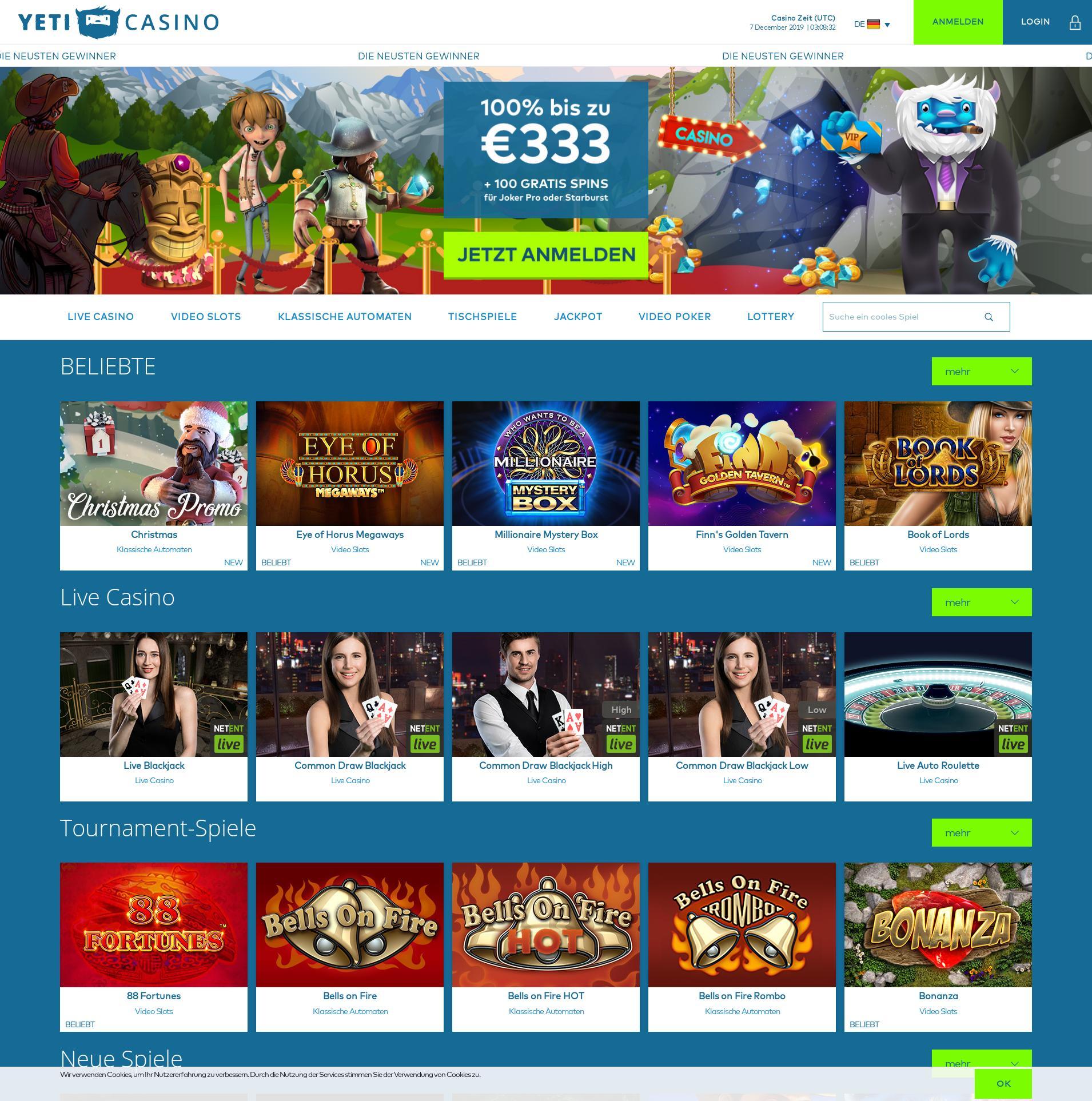 Casino Bildschirm Lobby 2019-12-07 zum Deutschland