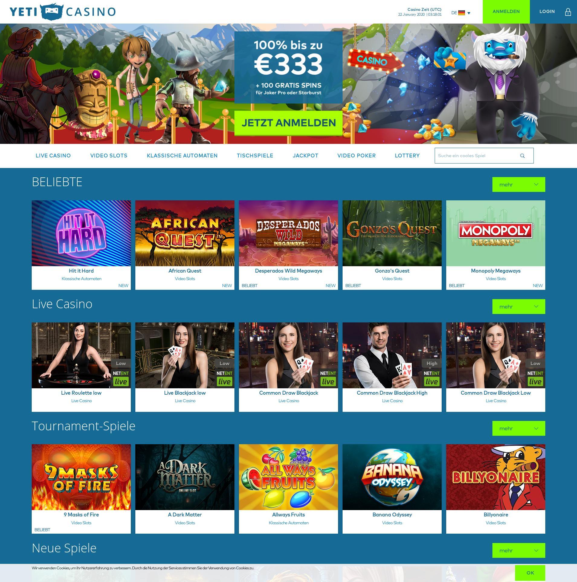 Casino Bildschirm Lobby 2020-01-22 zum Deutschland