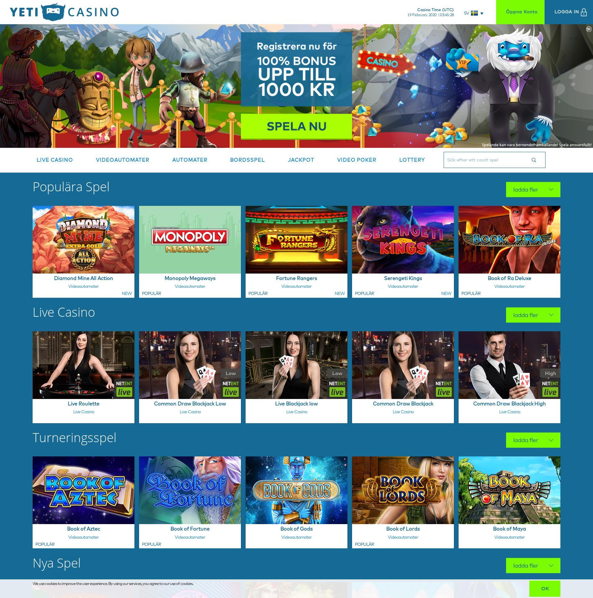 Casino screen Lobby 2020-02-19 for Sweden