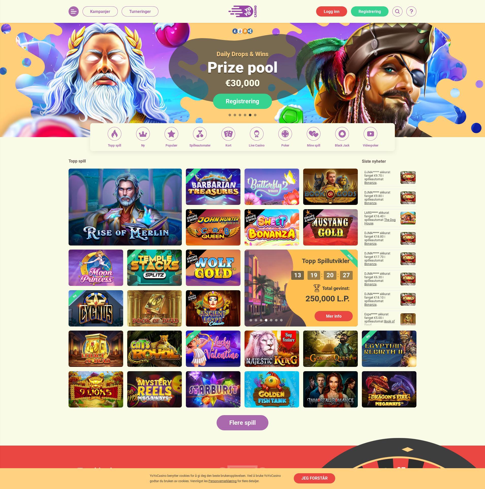 Casino skjerm Lobby 2020-02-16 til Norge