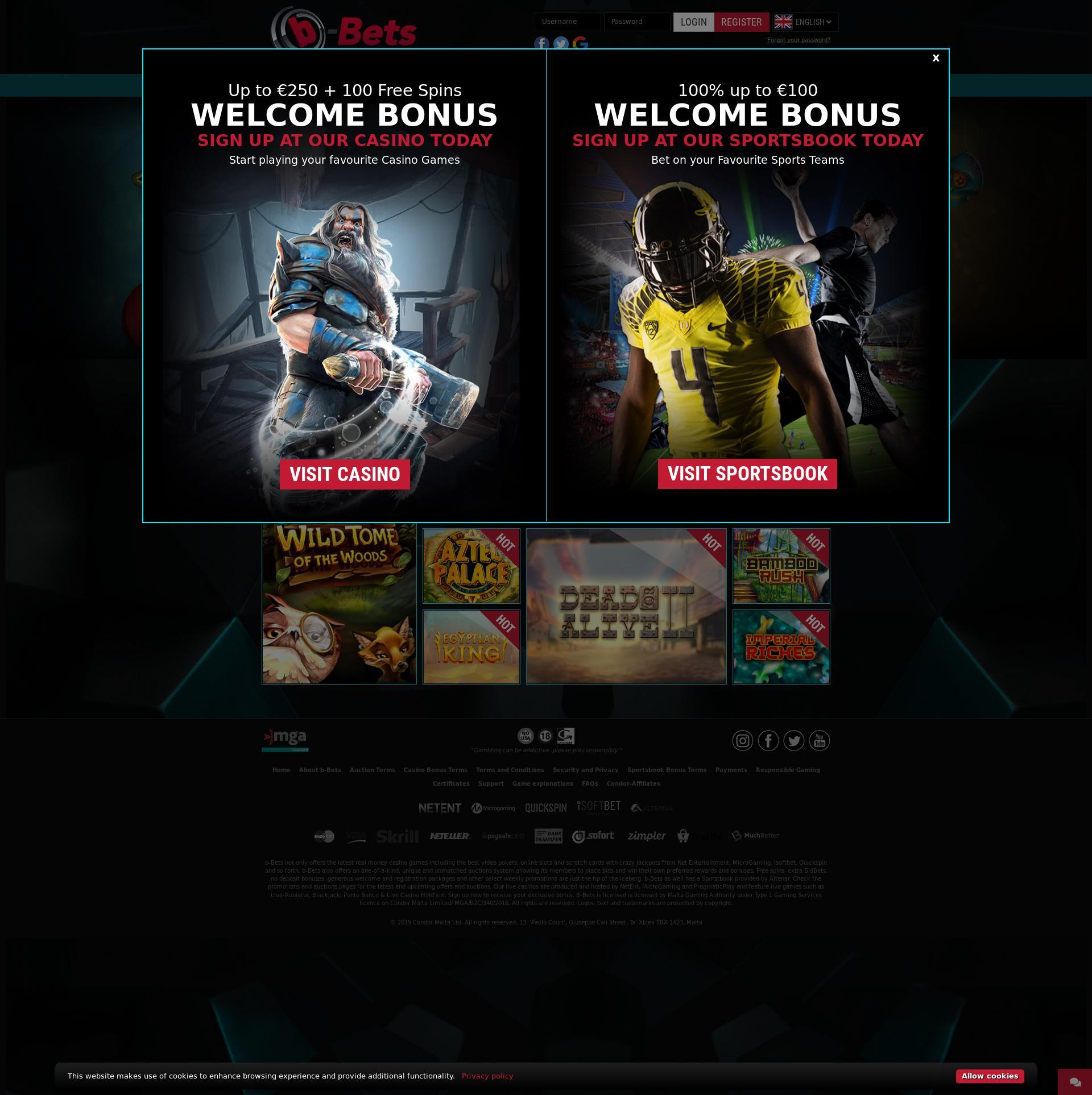 Casino scherm Lobby 2019-09-21 voor Nederland